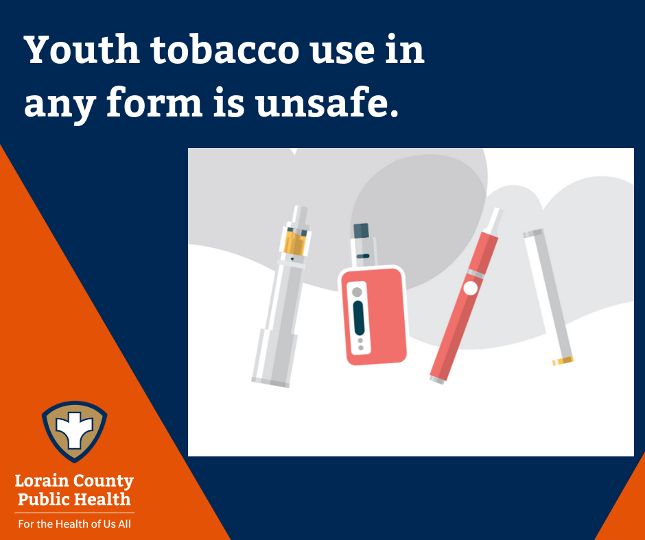 Youth tobacco use in any form is unsafe. Image of different types of tobacco