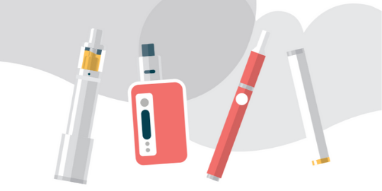 Different examples of the types of e-cigarettes.