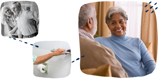 older adults talking, hand holding grab bar for support next to toilet with cane nearby