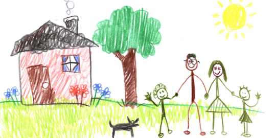 A stick figure family standing in front of a house