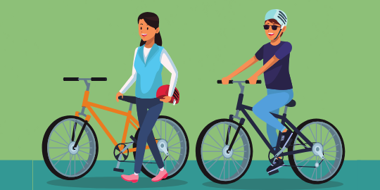 illustration of 2 people riding bikes with helmets