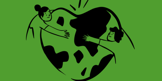 A cartoon of two people hugging a heart-shaped globe