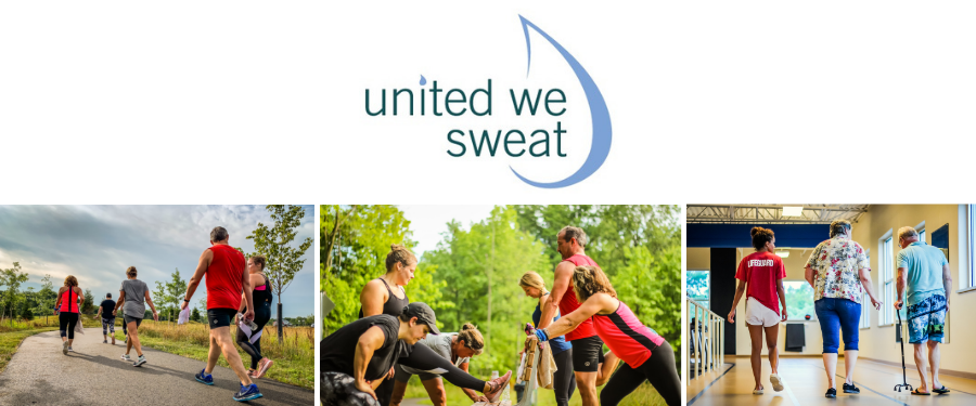United We Sweat logo with partner logos and photos of people working out.