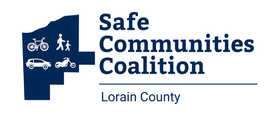 Safe Communities Coalition logo with bicycle, pedestrian, car, motorcycle within Lorain County