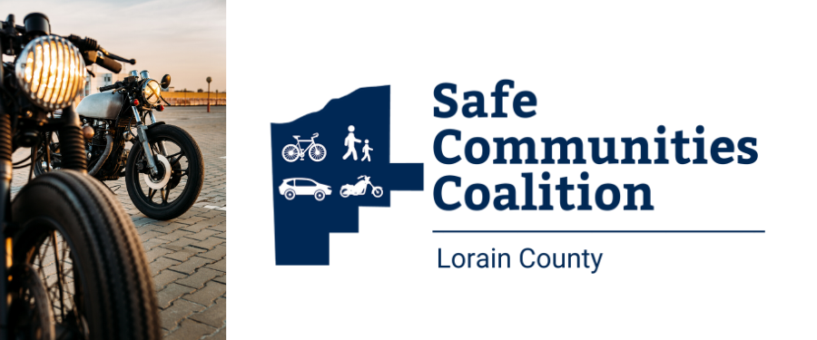 Motorcycle and Safe Communities Coalition logo with bicycle, pedestrian, car, motorcycle in Lorain County