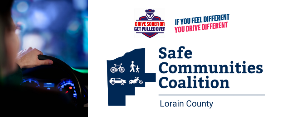 Person driving with hand on steering wheel, Drive sober or get pulled over, if you feel different you drive different, Motorcycle and Safe Communities Coalition logo with bicycle, pedestrian, car, mot