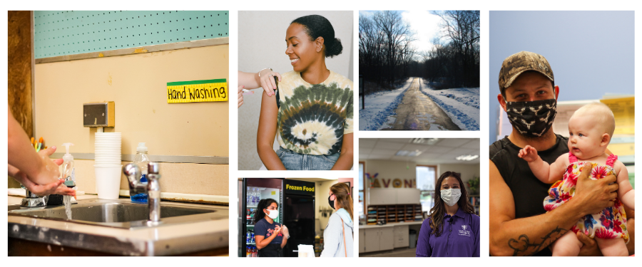 Photos of: a girl washing hands, an African America woman getting a vaccine, a school nurse wearing a mask, a park in the wintertime, a father holding his baby, and two women at a bakery
